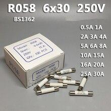 10 шт. RO58 6*30 мм специальные внутренние подкладки для плавкие Керамика предохранитель 6x30 предохранитель 250V 0.5A 1A 2A 3A 4A 5A 6A 8A 10A 13A 15A 16A 20A 25A 30A