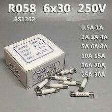 10 Uds RO58 6*30mm golpe rápido fusible de cerámica 6x30 fusible 250V 0.5A 1A 2A 3A 4A 5A 6A 8A 10A 13A 15A 16A 20A 25A 30A
