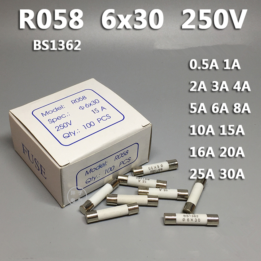 100 Pcs New 6mm x 30mm Fast Blow Ceramic Fuses 250V F10A 10A