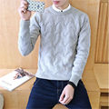 2017 New High Quality Brands Twist Sweater Knitting Winter Men's O Neck Cotton Sweater Jumpers Pullover Sweater Men 4XL