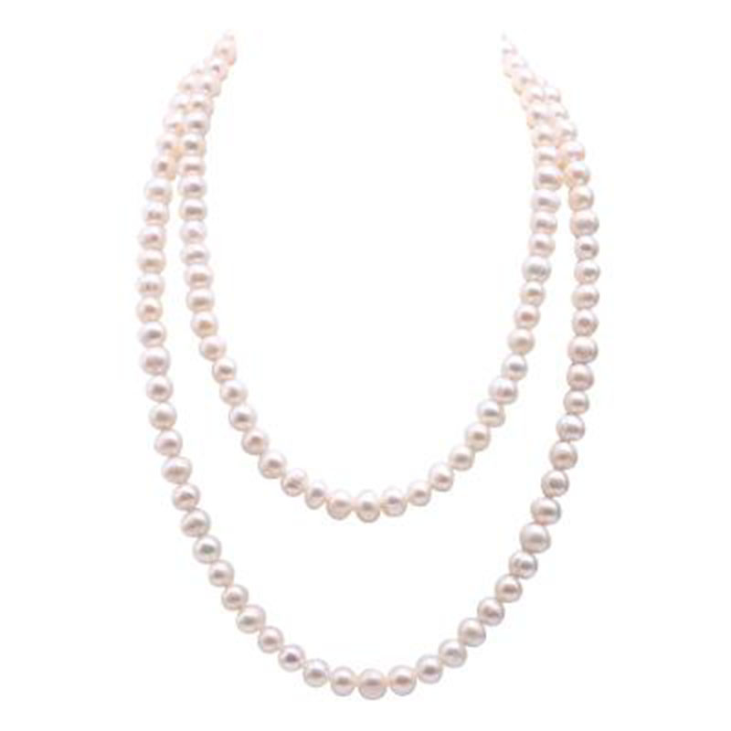 JYX Pearls Long Sweater Chain Necklace 9-10mm White Near Round Natural Freshwater Pearl Necklace 47Long ChainsJYX Pearls Long Sweater Chain Necklace 9-10mm White Near Round Natural Freshwater Pearl Necklace 47Long Chains