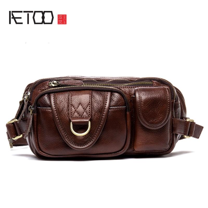 AETOO pierwsza warstwa skórzana kieszenie mężczyźni torba wypoczynek mężczyźni skórzana torba w klatce piersiowej kieszenie w Saszetki od Bagaże i torby na  Grupa 1