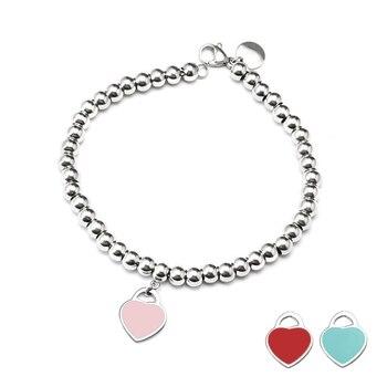 לב חרוזים צמיד & צמיד נירוסטה כחול & ורוד & אדום תליון קסם מותג Tiff עיצוב עבור נשים אלגנטי תכשיטי מתנה