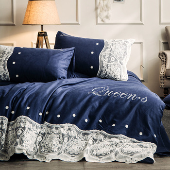 Luxury 100% Cotton Sanding Fantasy Lace Bedding Set Warm Shining Stone Duvet Cover Bed Sheet Pillowcases Queen King Size 4Pcs