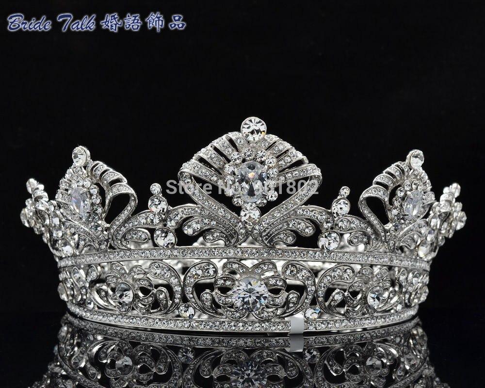Fashion Luxury Queen Crown Bride Flower Austrian Crystal Zircon Round Symmetric Tiara Crown Wedding Pageant SHA8649