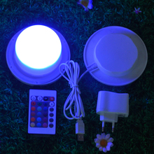 85mm Rechargeable Bulblite RGB + White LED lighting system Waterproof Cordless Bulb Lite LED under table light for weddings