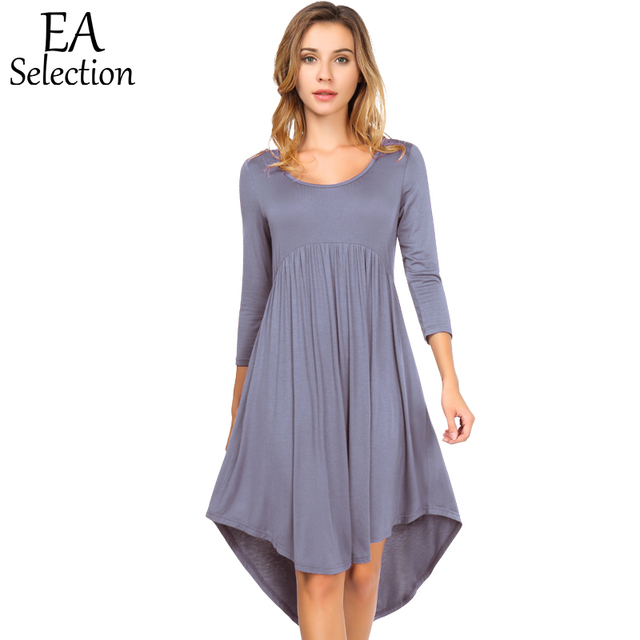 1274e636c112 EA Selection Women s Dress Casual Fit and Flare A-line Dress Round Neck 3