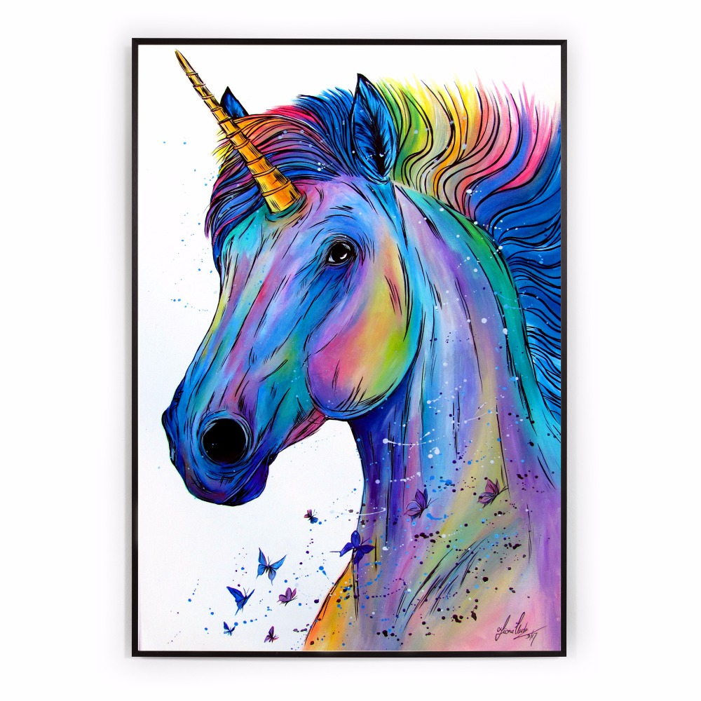 Colorful Unicorn Watercolor Canvas Art Print Painting