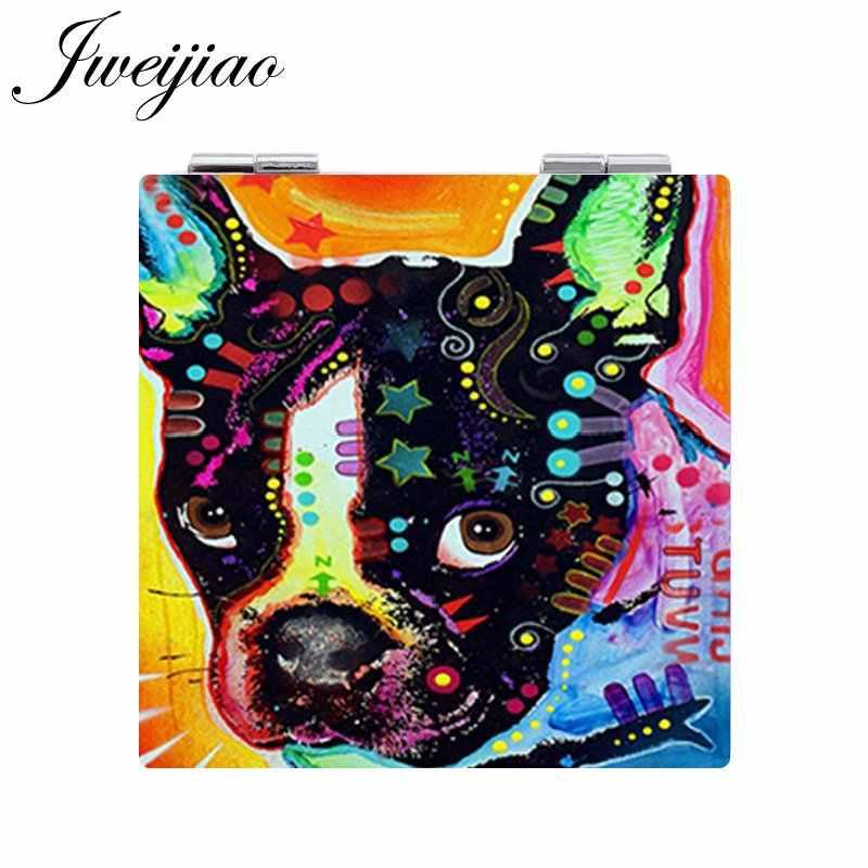 JWEIJIAO الحيوانات الأليفة Gogs مرآة جيب مربع على شكل 1X/2X المكبرة للطي البسيطة بو الجلود اسبيخو ماكياج مرايا