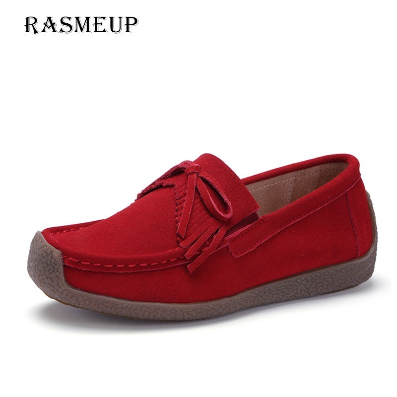 RASMEUP   Leather     Suede   Women Flat Sneakers 2018 Women's Flats Tassel Casual Slip-On Woman Loafers Shoes Ladies Creepers Moccasins