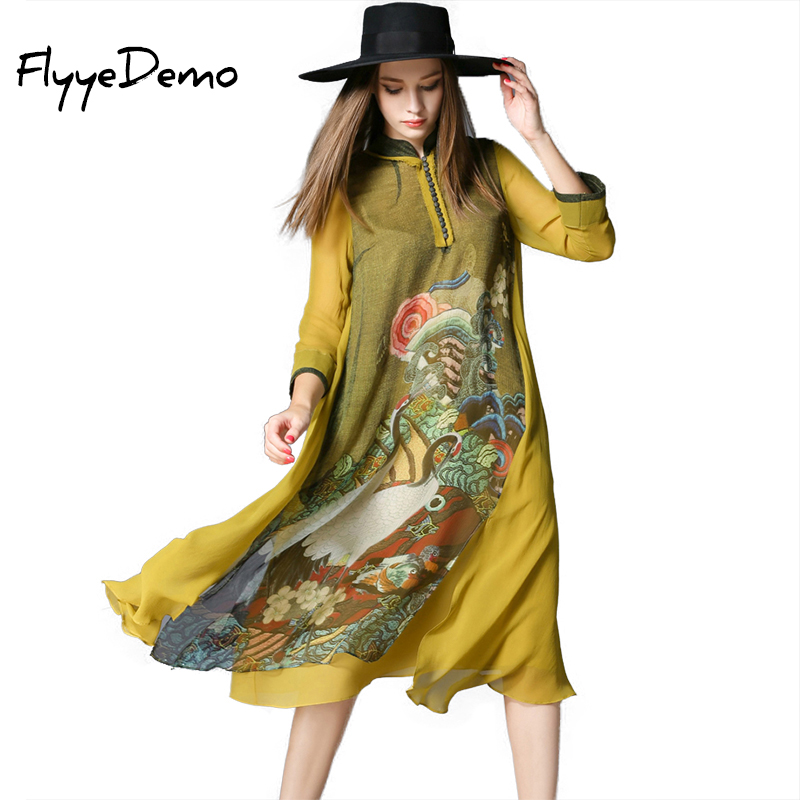 Women Silk Dress Luxury Silk Long Dress Solid Classic Dress 2019 Summer New Style Crane Printed Loose Yellow Dresses