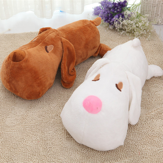 2017 New 60cm Plush Big Head Dog Toy Cute Animal Soft pillow Stuffed Brown White Doll Best Gift for Kids Children C64