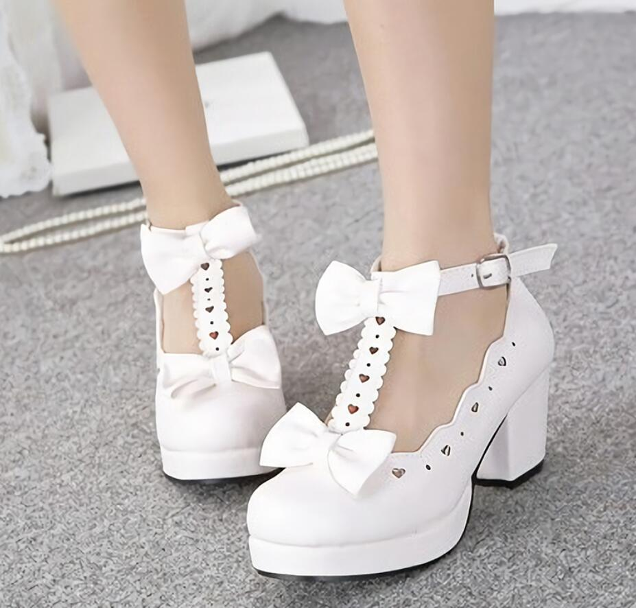 Lolita Heavy-Bottomed 3 Color Girl Shoes Princess Bowknot Kawaii Woman JK Uniform Shoes Loli Round Head Sweet Middle Heel Shoes