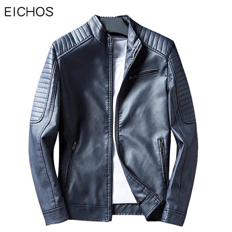 EICHOS Mens Leather Bomber Jackets Fashion Blue Red Motocycle Jacket Leisure Men's Spring Autumn Slim Leather Jacket For Men