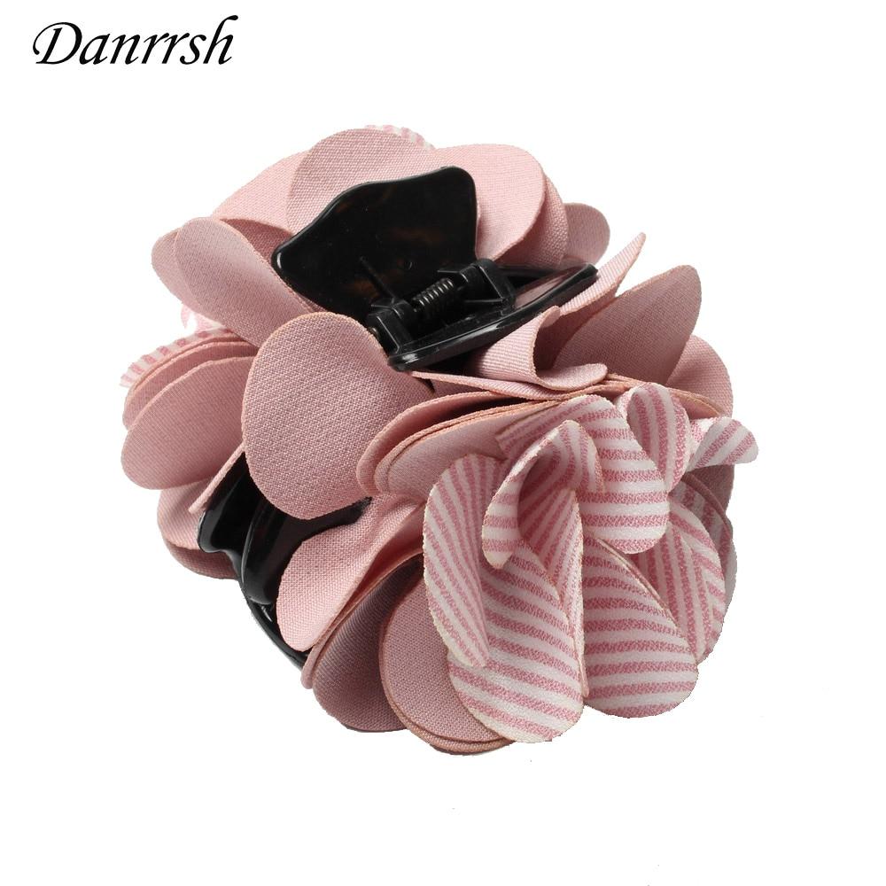 Fashion Two- tone Striped fabric flowers Hair Claws Clips Hair Accessories For Women Girls Hair Crab Clamp Hairpin   Headwear