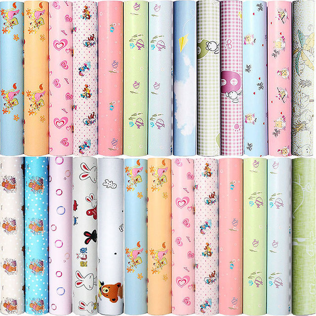 0.45x10m PVC Cartoon Self   Adhesive Wallpaper Kids Room Boys And Girls  Bedroom Wallpaper Dormitory