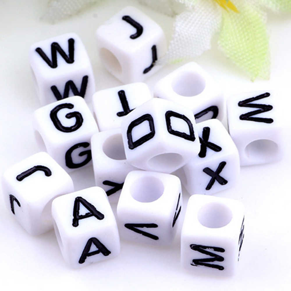 URORU 20PCS Fashion Single English Alphabet / Letter A-Z Acrylic Cube Beads Loose DIY Beads 6mm*6mm