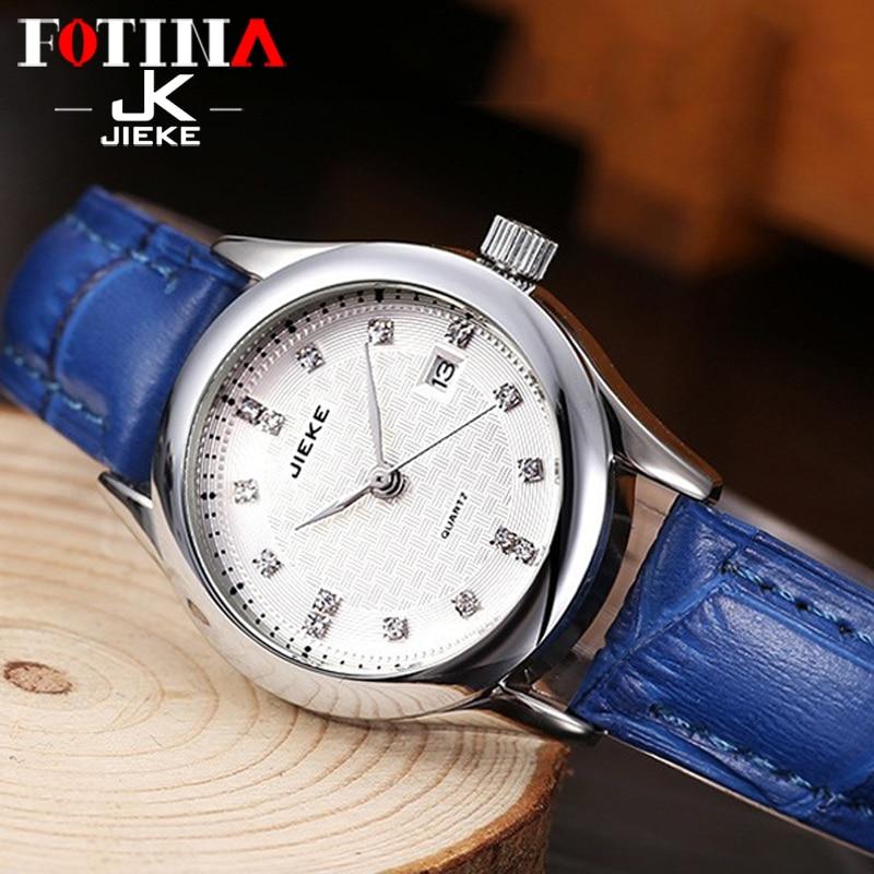 FOTINA Top Brand JK Watch Women Fashion Sport Quartz Clock Leather Strap Red Date Watch Ladies
