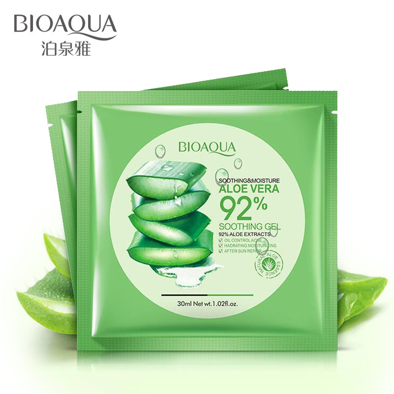 BIOAQUA Natural Aloe Vera Gel Face Mask Moisturizing Oil Control Shrink Pores Facial Mask Wrapped Mask cosmetic Skin Care N45