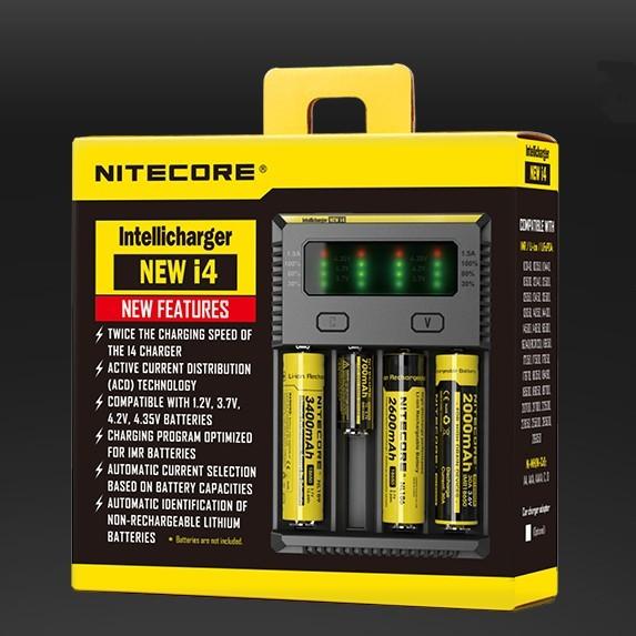 Novo Pacote Original I4 Nitecore Digicharger 18650/14500/Li-ion Carregador de Bateria Recarregável Carregador Universal + Cabo de Carregamento