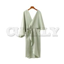 CUERLY women sexy V neck midi dress hollow out long sleeve elegant female casual solid irregular dresses vestidos
