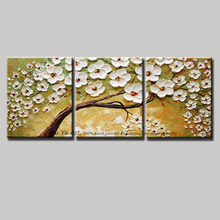 3 piece wall art flower pictures white decorative hand painted knife painting Modern abstract life tree oil painting home decor
