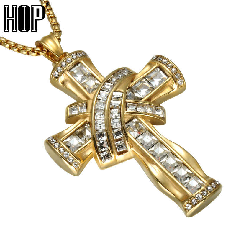 1f7831b7e92ed HIP Hop Iced Out Crystal Cross Necklaces Bling Gold Color Stainless Steel  Luxury Pendants & Necklace for Men Prayer Jewelry