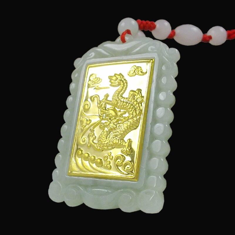 TJP 2018 Gold Jade Square Style Dragon կախազարդ Լավ - Նուրբ զարդեր - Լուսանկար 5