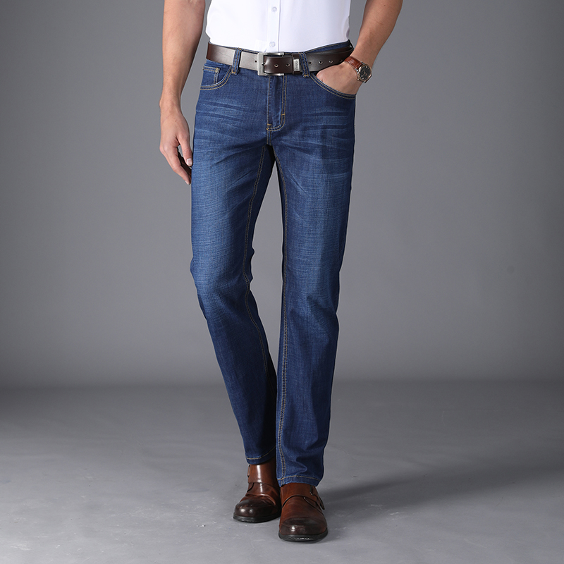 Mens Jeans 2018 New Classic Stretch Business Smart Casual Solid Denim Pants Straight Long Trousers Gentleman Cowboys 8919
