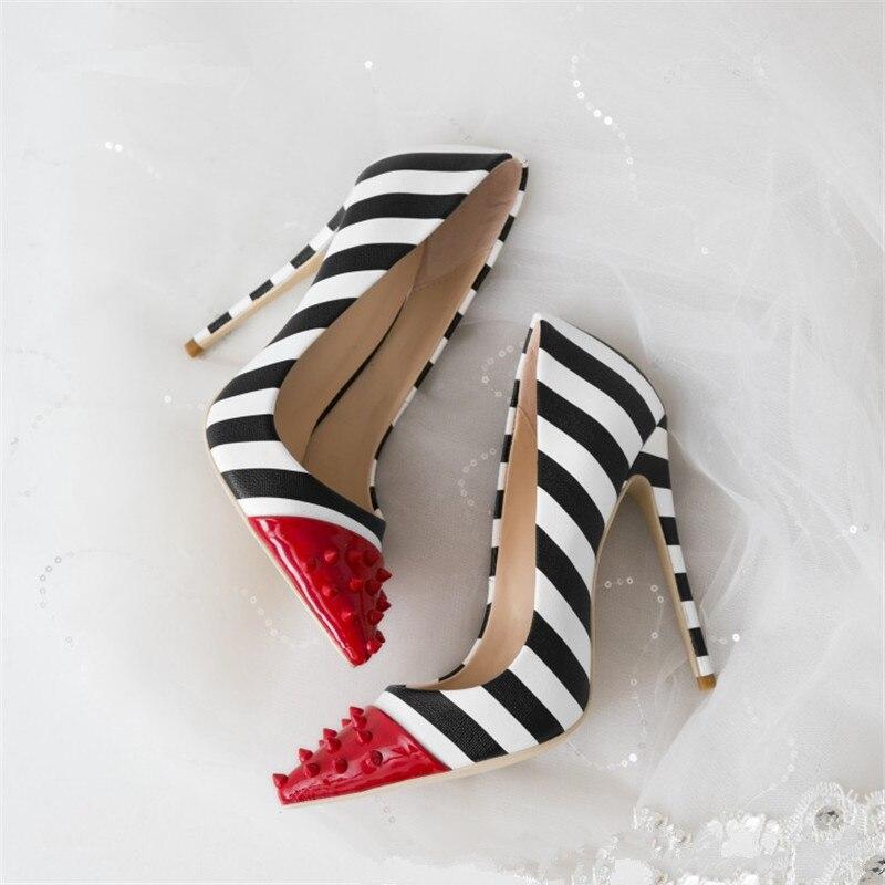 46cbf6923a9 MStaachi 2019 Zebra Stripes High Heel Shoes Woman Rivet Pointed Toe Patent  Leather Patchwork 12CM Pumps Women Fashion Party Shoe