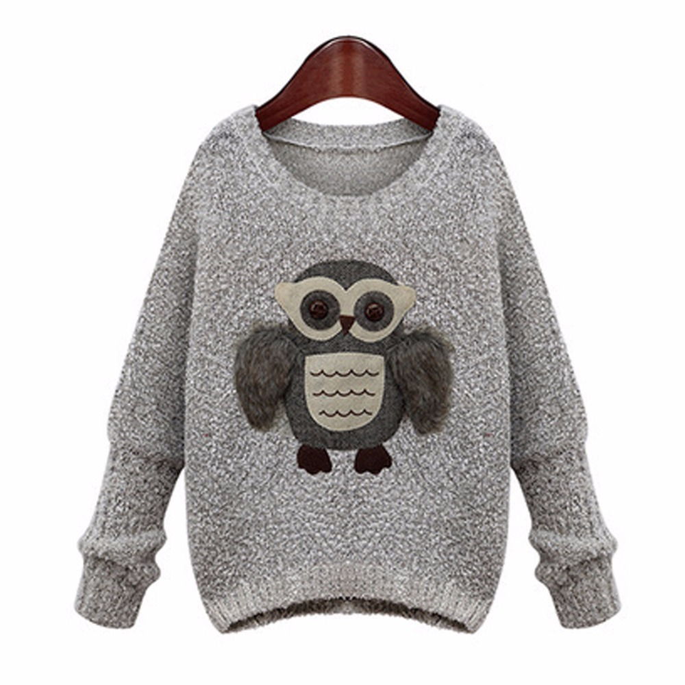 Cartoon owl women sweater Fashion New Design Spring Autumn Knitwear Round Neck pullover loose Tops Knitted Womens Sweaters YA30