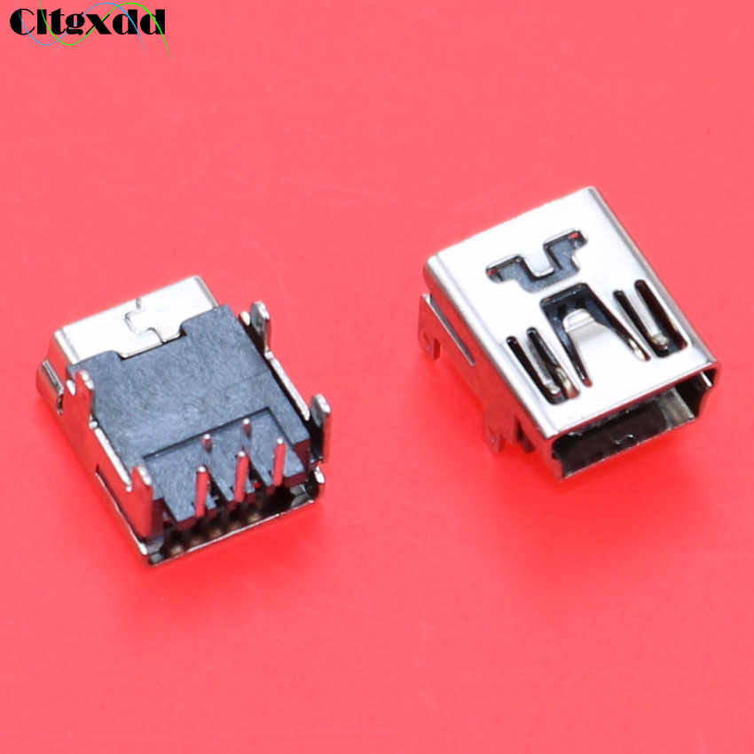 Cltgxdd 1 ~ 100 Pcs Mini Jack USB Tipe B 5pin 90 Derajat Pesawat Konektor Perempuan Las Soket Plug untuk ponsel MP3 MP4 Tablet Dll.