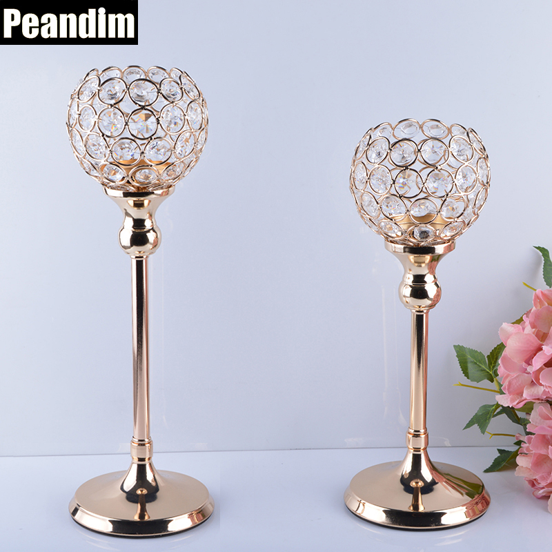 PEANDIM Bryllup Kandelabra Centerpieces Center Table Lysestake Party Decor K9 Crystal Candle Lantern Gull Stearinlysholdere
