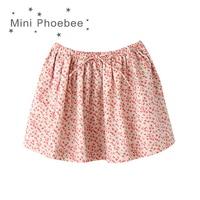 2 8 Years Children Floral Skirt For Girls Skirts Orange Fine Small Grid Large Grid Floral