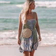 Dress Women Floral Printed Summer Dress Woman 2019 Sleeveless Sling Low Back Boho Beach For Vacation Loose Casual Mini Dress New недорого