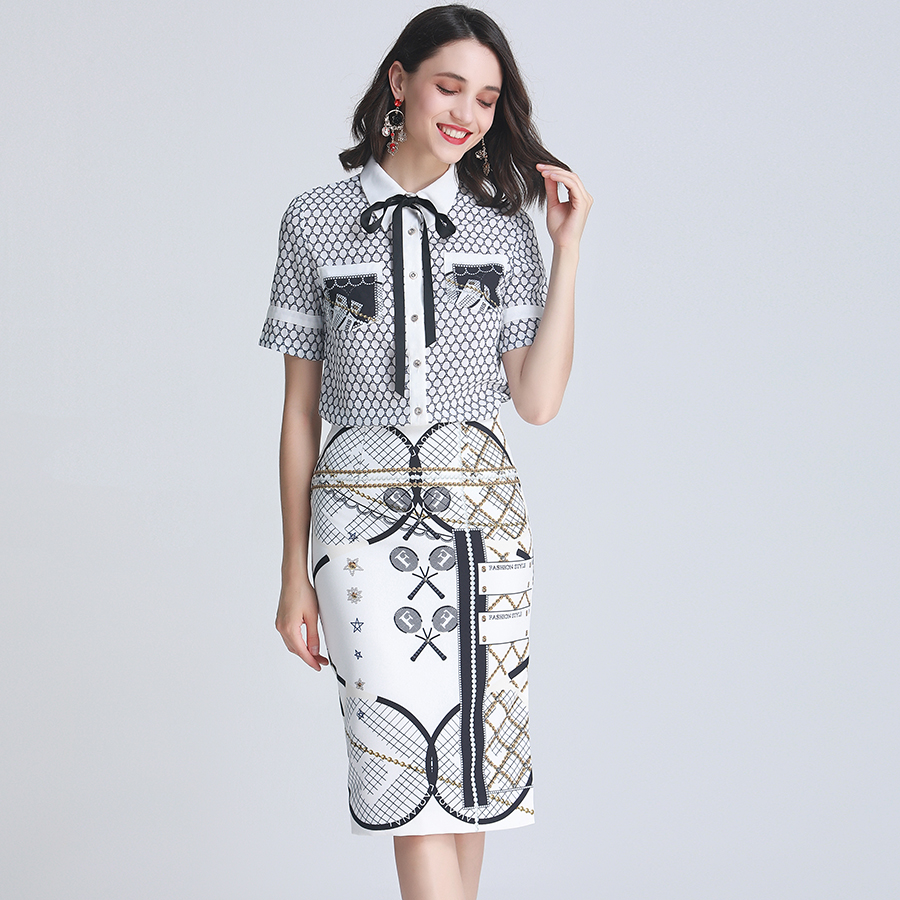 AELESEEN 2019 New Runway Office Suits Women s Printed Bow Circle Blouse Shirts Tops Plaid Medium