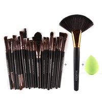 MANAGE 22Pcs Pro Eyeshadow Powder Foundation Eyeliner Lip Facial Makeup Brushes Set Sponge Puff Fan Brush