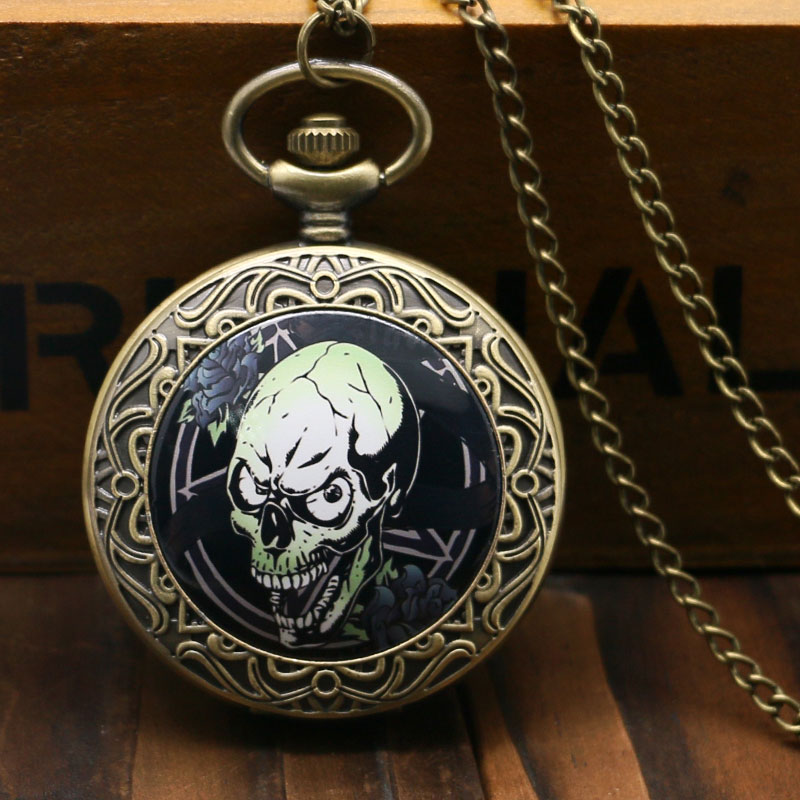 Retro Style Bronze  Zombie Case Pocket Watch With Chain Necklace Best Gift For Young People