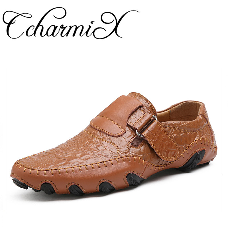 CcharmiX Plus Size Mens Casual Shoes Octopus Style Fashion Loafers Crocodile Pattern Leather Moccasins Brown Male Driving Shoes fashion tassels ornament leopard pattern flat shoes loafers shoes black leopard pair size 38