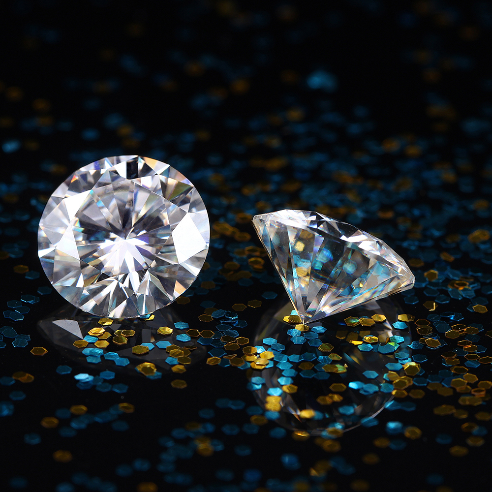 TransGems 8mm 2 Carat F Couleur Certifié Lab Grown Moissanite Diamant Lâche Cordon de Test Positif Comme Réel Diamant 1 pièce