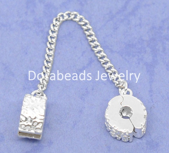 Lovely 5 SP Safety Chains Stopper Clip&Lock Fit Charm Bracelet (B07580)
