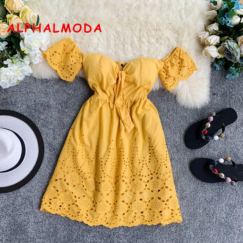 ALPHALMODA 2019 New Summer Sexy Padded Beach Dress Flare Sleeve High Waist Women Holidays Mini Vestidos Yellow