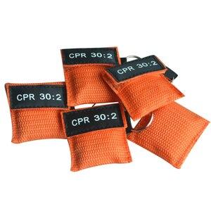 Image 2 - 100 шт. CPR маска для реанимации односторонний клапан жизненный ключ тренировочная карманная маска для защиты лица инструмент для ухода за здоровьем оранжевый
