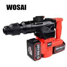 WOSAI 40V Lithium Battery Rotary Hammer Heavy Duty Cordless Impact Drill Power Tool Cordless Hammer Electric Drill black red bc 15v 12a cordless drill charge speed control switch hammer tool