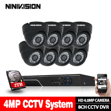 8Channel CCTV System Super HD 4MP AHD DVR kit 8Pcs security AHD 4MP Black indoor night vision Camera Security set 3G WIFI DVR ninivision new home super 4mp hd ahd camera security cctv black mini dome 24led infrared night vision surveillance camera system