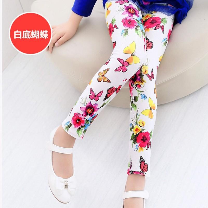 New Style Spring Autumn Children Leggings Flower Butterfly girls pants kids legging 7