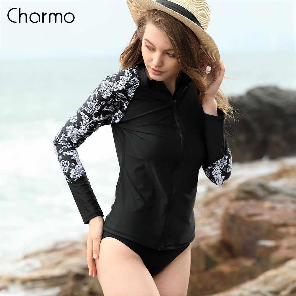 Charmo Wanita Lengan Panjang Zipper K Berlaku Kemeja Baju Renang Floral Cetak Baju Renang Surfing Top Hiking Kemeja Flora Ruam Penjaga UPF50 +