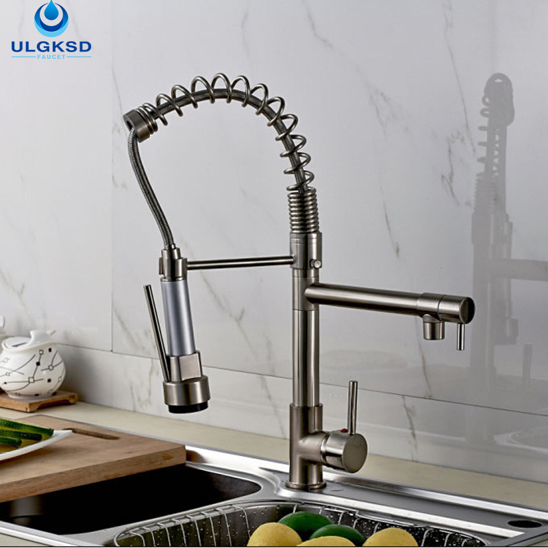 ULGKSD Brushed Nickle Kitchen Faucet Dual Swivel Spout Kitchen Sink Tap Pull Down Sprayer Head Faucet Hot and Cold Mixer Taps gizero free shipping orange spring kitchen faucet brushed nickle finish single handle hot cold water crane mixing tap gi2069