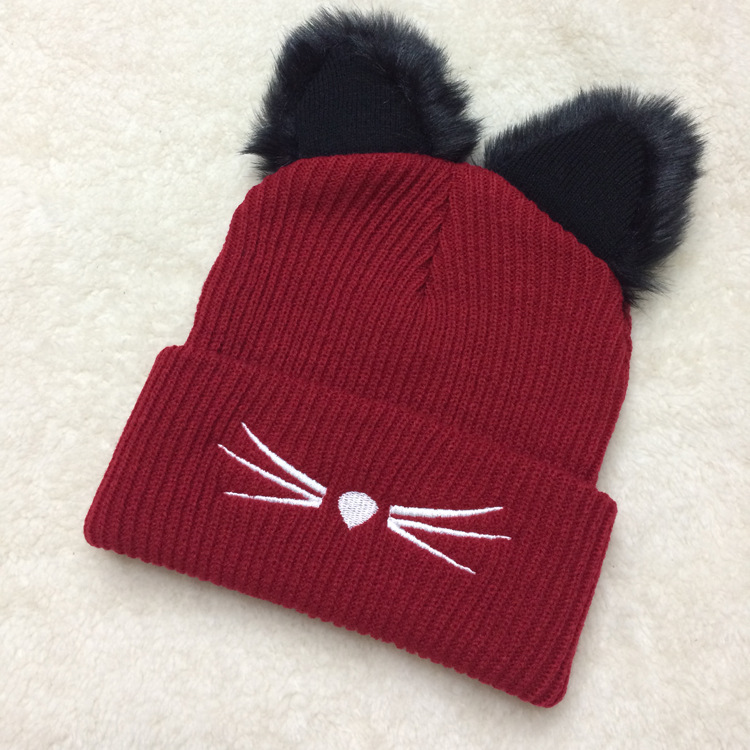 Winter Hats With Cute Cat Ears For Women Red Black Knitted Warm Hats   Skullies     Beanie   Cap Girl Hats Casual Crochet   Beanies   Caps