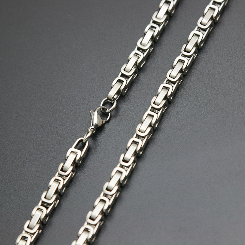 Fashion Silver Jewelry 2.5 5mm Men Chain Silver Tone 316 Stainless Steel 18 20 22 24 26 28 30 32inch Byzantine Box Link Necklace